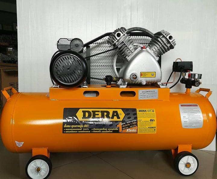ปั้มลม สายพาน 2 สูบ มอเตอร์ 3 แรงม้า 100ลิตร DERA