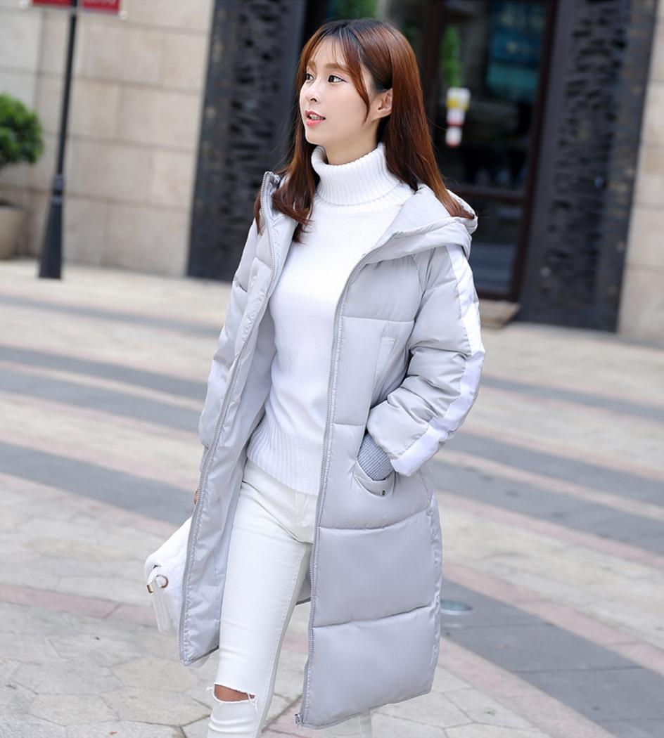 Korean girl's long winter jacket (Grey)