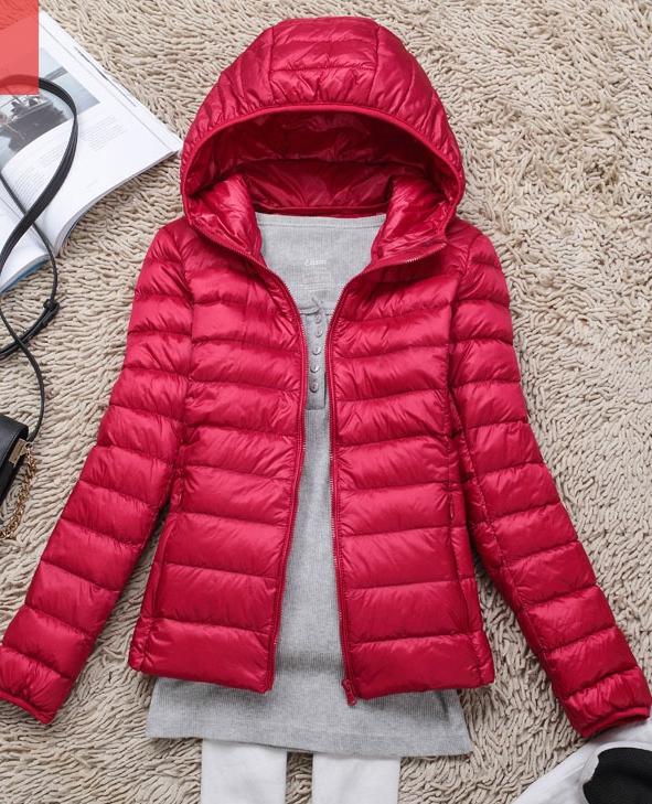 Women's Ultra light slim Down jacket ผสมขนเป็ด Duck down 90% !! (สีแดง)