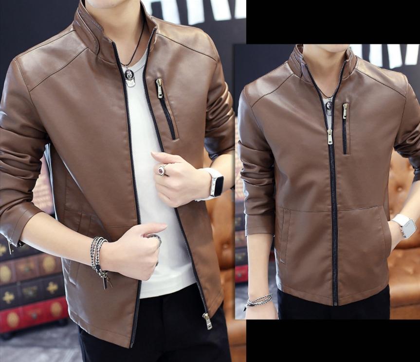 ็High quality men's leather jacket (สีน้ำตาล)