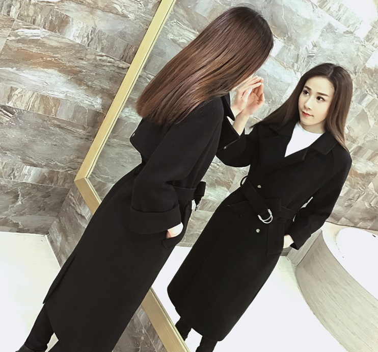 เสื้อโค้ท PASSM คุณภาพดี ผ้า Wool กันหนาว (สีดำ)