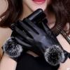 ถุงมือหนัง PU Collar lady glove (สีดำ)