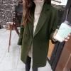 เสื้อโค้ท Winter autume woolen coat tide สีเขียวเข้ม