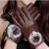 ถุงมือหนัง PU Collar lady glove (สีน้ำตาล)
