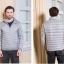 Men's Ultra light slim Down jacket ผสมขนเป็ด Duck down 90% !! (Light grey) thumbnail 1